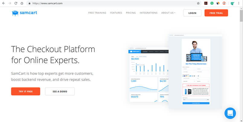 Clickfunnels Alternative - Samcart Platform